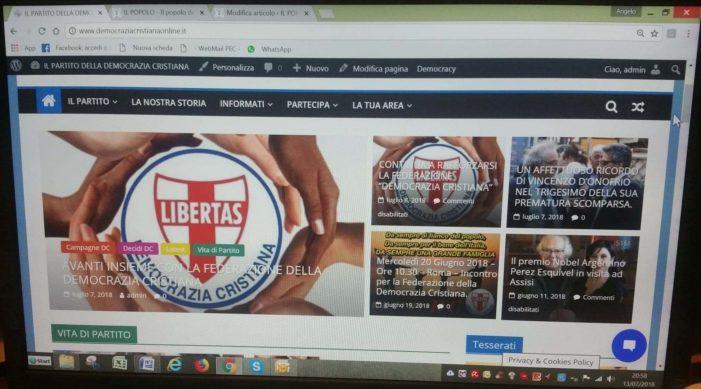 """""""COMUNICO ERGO SUM"""": sta decollando in modo vertiginoso il nuovo sito internet ufficiale della DC – www.democraziacristianaonline.it >"""