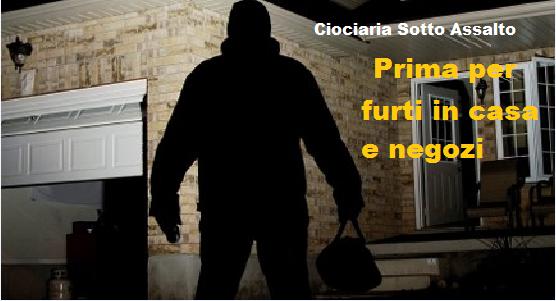 Lazio: Rapine e furti in casa, primato Ciociaro. La provincia prima nel Lazio, poi viene Rieti.