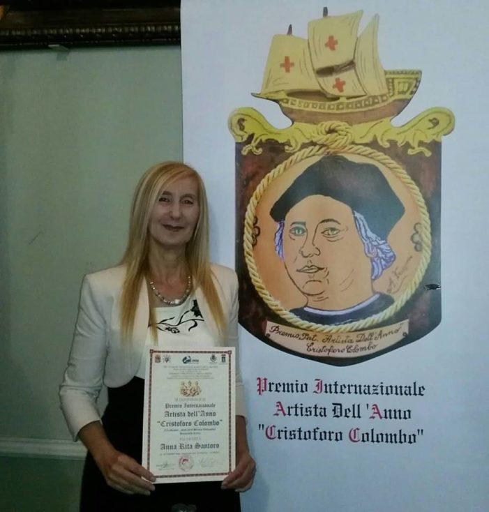 Anna Rita Santoro della Dc : assegnato il premio internazionale Artista dell'anno C.Colombo.