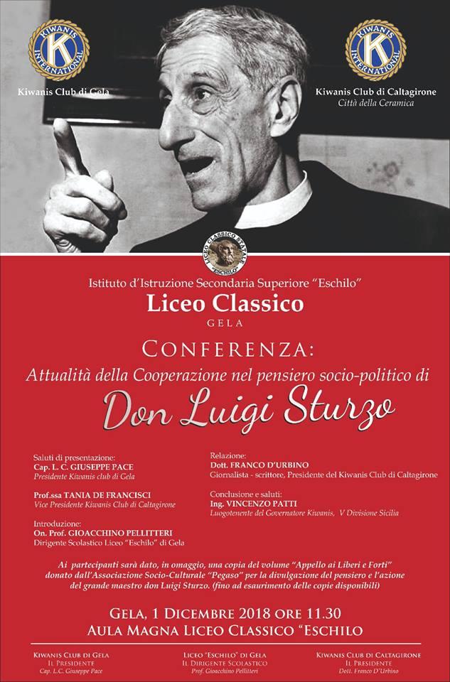 """Interessante convegno a Gela (CL) sul tema: """"L'attualità della Cooperazione nel pensiero socio-politico di Don Luigi Sturzo"""".>"""