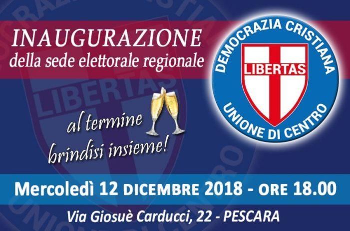 Mercoledì 12 dicembre 2018 sarà inaugurata a Pescara la nuova sede elettorale della Democrazia Cristiana /UDC della regione Abruzzo.