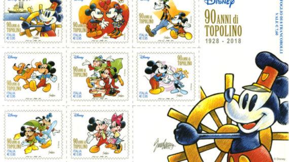 Poste Italiane : festeggia i 90 anni di Topolino con una collezione di francobolli.