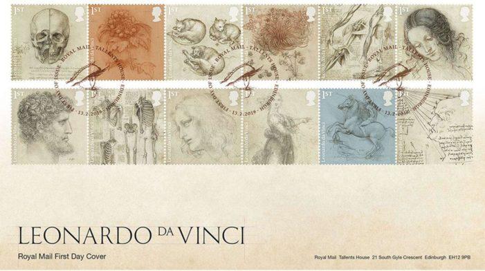 Leonardo superstar. Dalle poste inglesi una serie di francobolli per celebrare il genio Leonardo Da Vinci.