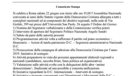 Verso la Direzione Nazionale della Democrazia Cristiana (sabato 22 giugno 2019 – ore 10 – Via Giovanni Giolitti n. 339 – a Roma)