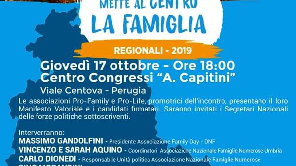Giovedì 17 ottobre 2019 verrà presentato in Umbria il Manifesto valoriale per la vita, la famiglia e la libertà educativa.