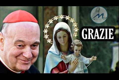 Il Cardinal Angelo Comastri in dialogo orante con la Vergine Maria.