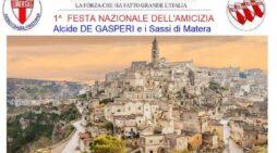 """Appuntamento a Matera nei giorni 25-26-27 giugno 2021 per la Festa dell'Amicizia della Democrazia Cristiana intitolata """"ALCIDE DE GASPERI ED I SASSI DI MATERA"""""""