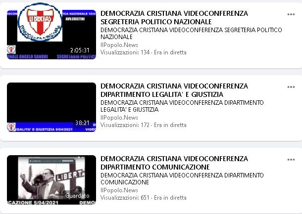 NOTEVOLE IL SUCCESSO OTTENUTO DALLE RIUNIONI IN DIRETTA FACEBOOK DELLA DEMOCRAZIA CRISTIANA !