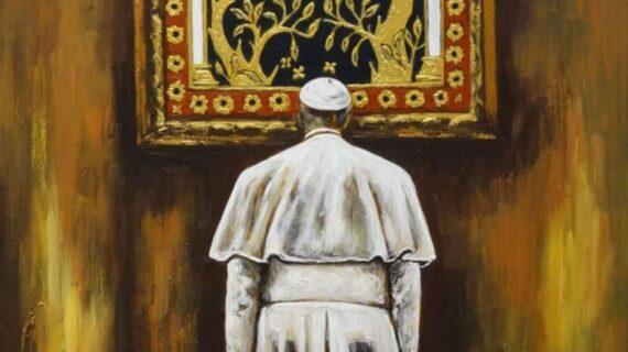 """L'opera di Pietra Barrasso, Maestra della Luce, dal titolo """"Santa Maria in Portico e Papa Francesco""""."""
