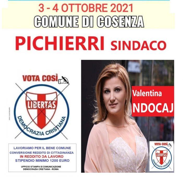 VALENTINA NDOCAJ: candidata a Cosenza nella lista della Democrazia Cristiana per PICHIERRI SINDACO.